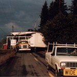 Moving the Pleasant Grove Church from the Aumsville area to Salem, 1984. WHC M3 1993-103-0071