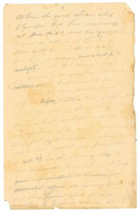 View of the manuscript found in Dr. W. Carlton Smith's papers. WHC 0087.035.