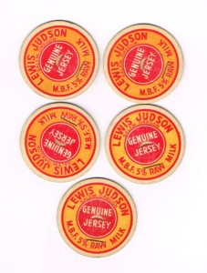 Bottle caps from the Judson Dairy which operated at 1000 Judson Street in Salem, today Gilmore Field and a residential subdivision. Photo Source: Willamette Heritage Center 0082.039.0002