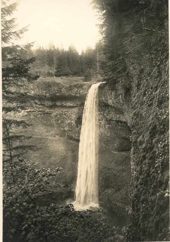 South Falls at Silver Falls State Park in Silverton Oregon, shot by J.D. Drake circa 1931