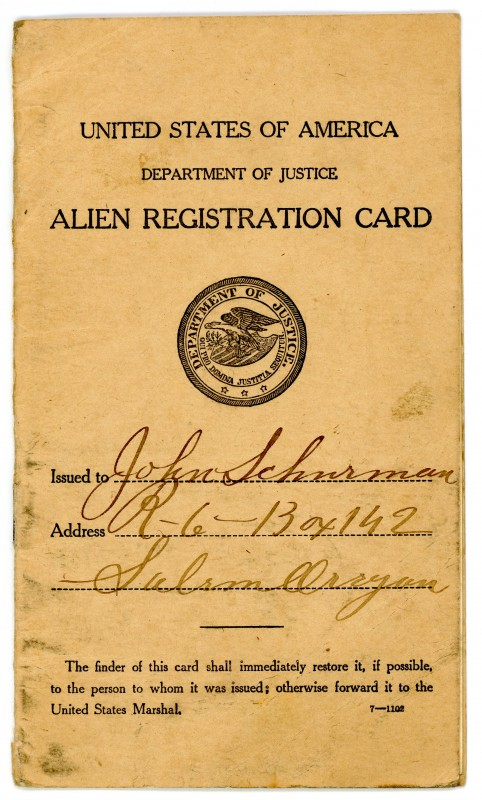 Alien Registration Card of John Schurman who imigrated to the United States