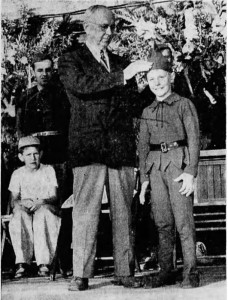 Denny Frank crowned Jack-of-the-Beanstalk at the Santiam Bean Festival 1949. Photo Credit: Daily Capital Journal July 27, 1949