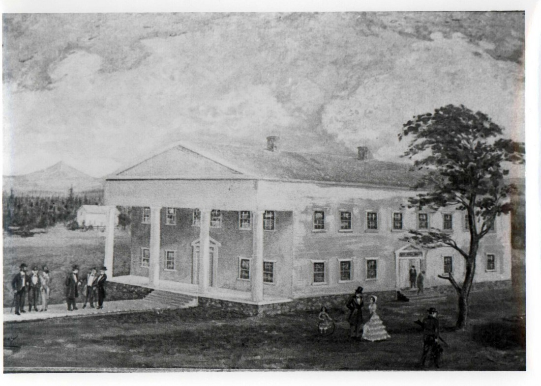Artist's rendering of first capital building c. 1855. WHC 2004.010.0019.