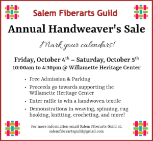 Salem Fiberarts Guild Annual Handweaver's Sale @ Willamette Heritage Center